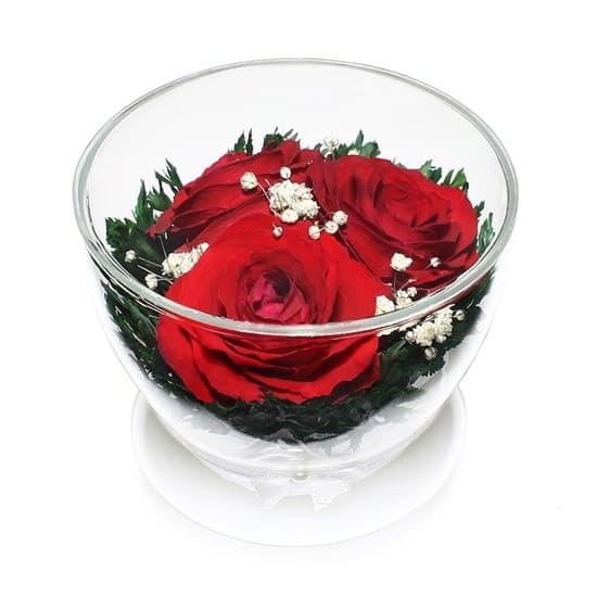 """Композиция из красных роз """"Ириска"""" (арт. CuSr3) в подарочной упаковке"""