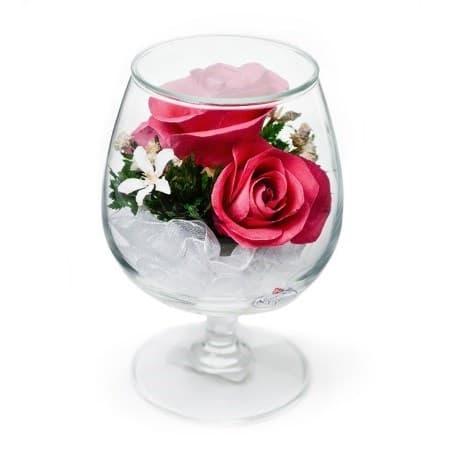 """Композиция из розовых роз """"В бокале"""" (GSRp)"""