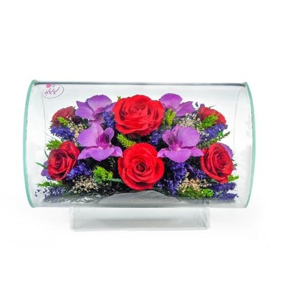 """Композиция цветов """"Циркон"""" из красных роз и орхидей (арт.TLM2)"""