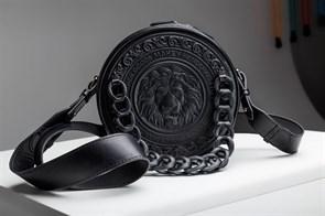Кожаная женская сумка Royal с художественной вставкой, цвет черный (фон)