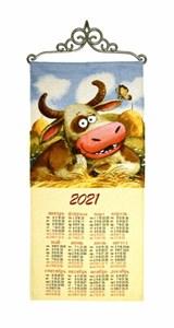 """Гобеленовый календарь """"Любит не любит"""" на 2021 год, 30х70 см"""