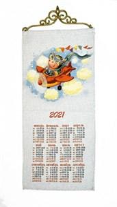"""Гобеленовый календарь """"Счастливого полета"""" на 2021 год, 30х70 см"""