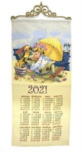 """Гобеленовый календарь """"Жаркое лето"""" на 2021 год, 30х70 см"""