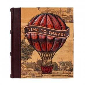 """Большой кожаный магнитный фотоальбом """"Время путешествовать"""""""