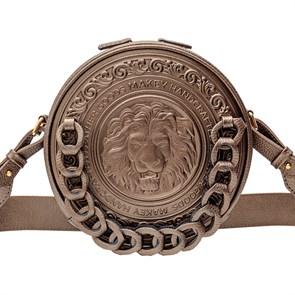 Кожаная женская сумка Royal с художественной вставкой, цвет бронза