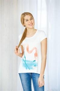 Женская футболка с коротким рукавом и принтом-фламинго