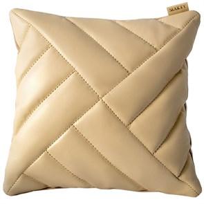 """Кожаный чехол для подушки с наполнителем """"Эшера"""", цвет молочный"""