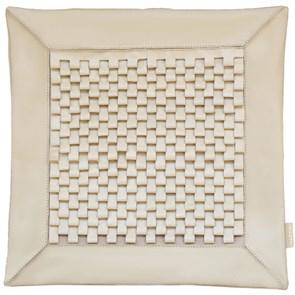 """Кожаный чехол для подушки с наполнителем """"Соты"""" 39х39 см, цвет молочный"""