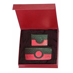 """Подарочный набор из кожи """"Венеция"""", цвет красно-черный"""