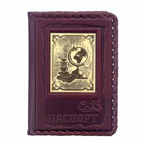 """Кожаная обложка для паспорта """"Учителю-1"""" с накладкой покрытой золотом 999 пробы"""