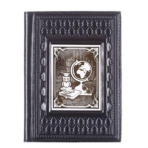 """Кожаная обложка для паспорта """"Учителю-4"""" с накладкой покрытой никелем"""
