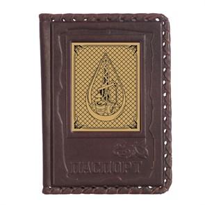 """Кожаная обложка для паспорта """"Нефтегаз-1"""" с сублимированной накладкой"""