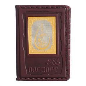 """Кожаная обложка для паспорта """"Нефтегаз-3"""" с накладкой покрытой золотом 999 пробы"""