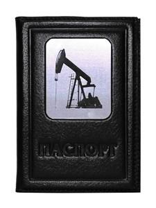 """Кожаная обложка на паспорт """"Нефть-3"""", цвет черный"""
