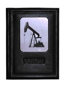 """Кожаная обложка для автодокументов """"Нефть-3"""", цвет черный"""