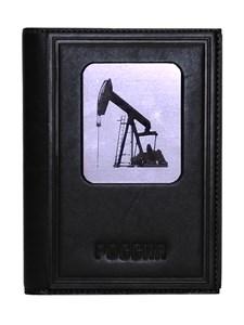 """Кожаная обложка для документов три в одном """"Нефть-3"""", цвет черный"""