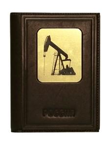 """Кожаная обложка для документов три в одном """"Нефть-1"""", цвет коричневый"""