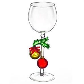 """Новогодний бокал из стекла ручной работы """"Елочные шары"""""""