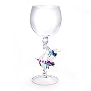 """Винный бокал из стекла ручной работы """"Стрекозы"""""""