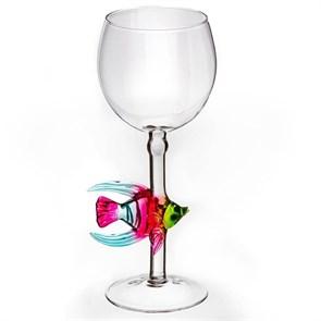 """Винный бокал из стекла ручной работы """"Рыба-ангел"""""""