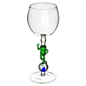 """Винный бокал из стекла ручной работы """"Мировая лягушка"""""""