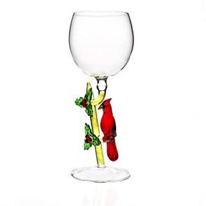 """Новогодний бокал из стекла ручной работы """"Кардинал"""""""