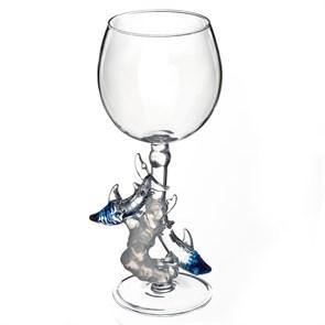 """Винный бокал из стекла ручной работы """"Акулы"""""""