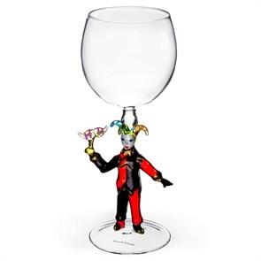 """Винный бокал из стекла ручной работы """"Джокер"""""""