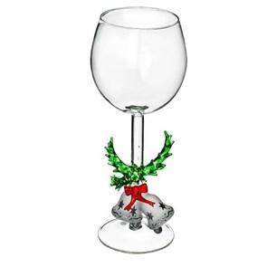 """Новогодний бокал из стекла ручной работы """"Колокольчики на ветке"""""""