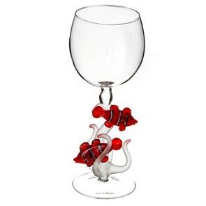 """Винный бокал из стекла ручной работы """"Коралловые рыбки"""""""
