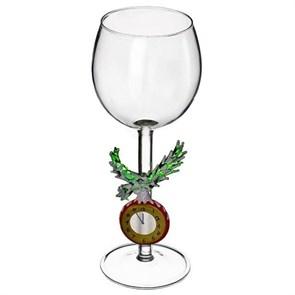 """Новогодний бокал из стекла ручной работы """"Часы 12 бьют"""""""