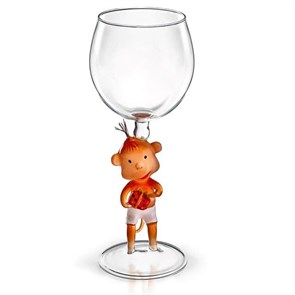 """Винный бокал из стекла ручной работы """"Обезьяна с подарками"""""""
