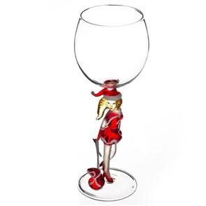 """Новогодний бокал из стекла ручной работы """"Снегурочка с подарками"""""""