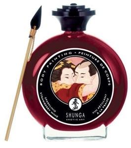 """Съедобная крем-краска Shunga для Боди- Арта """"Шампанское и Клубника"""", 100 мл"""