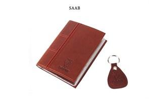 """Кожаная обложка для водительского удостоверения с брелком """"SAAB"""""""