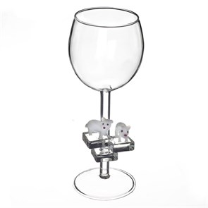 """Винный бокал из стекла ручной работы """"Белые Медведи"""""""