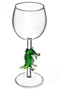 """Винный бокал из стекла ручной работы """"Крокодил"""""""