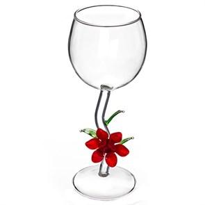"""Винный бокал из стекла ручной работы """"Красный цветок"""""""