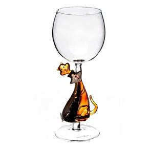 """Винный бокал из стекла ручной работы """"Милые Друзья"""""""