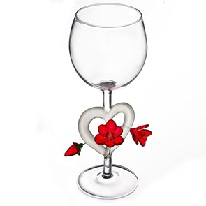 """Винный бокал из стекла ручной работы """"Цветущее сердце"""""""
