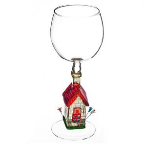 """Винный бокал из стекла ручной работы """"Цветущий Дом"""""""
