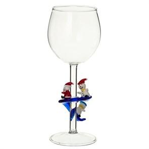 """Винный бокал из стекла ручной работы """"Катание с горки"""""""