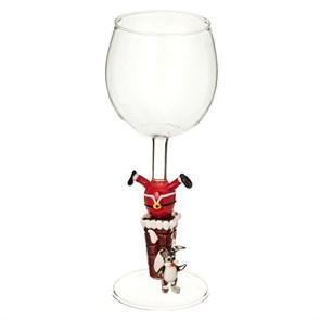 """Новогодний бокал из стекла ручной работы """"Дед Мороз в трубе"""""""