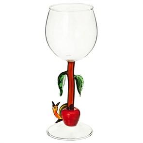 """Винный бокал из стекла ручной работы """"Улитка в яблоках"""""""
