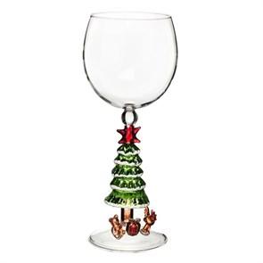 """Новогодний бокал из стекла ручной работы """"Елка со снегом"""""""