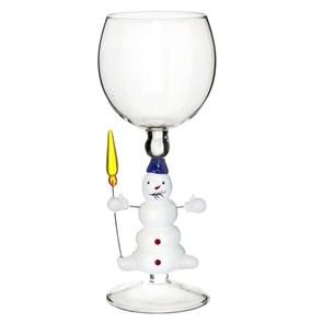 """Новогодний бокал из стекла ручной работы """"Снеговичок"""""""