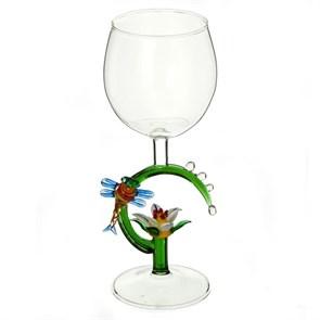 """Винный бокал из стекла ручной работы """"Росинки"""""""