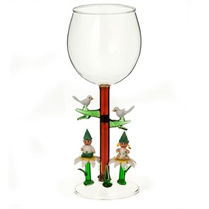 """Винный бокал из стекла ручной работы """"Любовь и Голуби"""""""