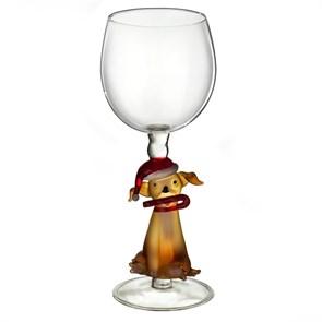 """Винный бокал из стекла ручной работы """"Собака в колпаке"""""""