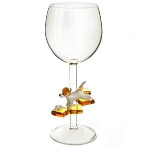 """Винный бокал из стекла ручной работы """"Джек Рассел"""""""